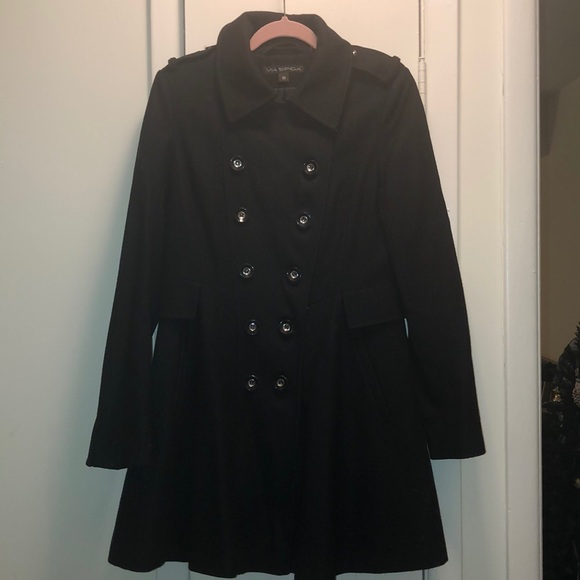Via Spiga Jackets & Blazers - Black Via Spiga Pea Coat